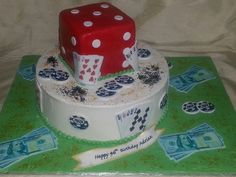 2-tier buttercream and fondant finished poker themed birthday cake.