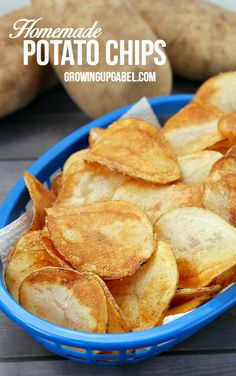 Homemade potato chips are quick and easy to make with just a potato, oil and salt! Thinly sliced potatoes are fried in a little oil for a few minutes.  You won't believe how delicious these are!