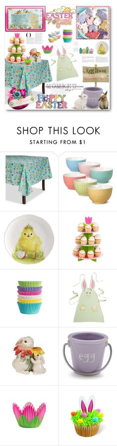 """""""HAPPY EASTER SUNDAY"""" by purplerose27 ❤ liked on Polyvore featuring interior, interiors, interior design, home, home decor, interior decorating, Vanity Fair, Mikasa, Pier 1 Imports and Fitz and Floyd"""