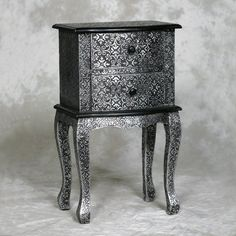 Blackened Silver Embossed 8 Drawer Chest sideboard 85 cm Marrakesh Morocco Style