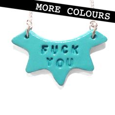Fuck You  Clay Stamped Quirky Necklace by LynseyLuu on Etsy