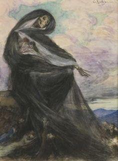 """Vente du jeudi 13 novembre par Audap-Mirabaud à Paris: Georges-Antoine Rochegrosse (1859-1938). """"La mort"""". Aquarelle, signée en haut à droite. Haut. : 23 cm ; Larg. : 18 cm. ESTIMATION 700 € - 1 000 €"""