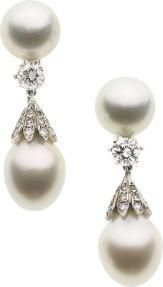 South sea pearls, diamond, white gold earrings