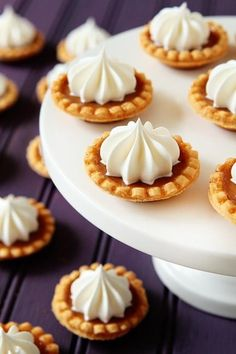 Mini pumpkin pies for the wedding dessert table or place them individually at each guests' plate. Perfectly seasonal!
