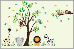 "Nursery Wall Decals - Safari Wall Decals - Animals Wall Stickers - Jungle Themed Decals - Baby Room Wall Decor - Wall Decor - 84"" x 121"""