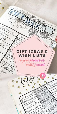 Gift Ideas in your planner