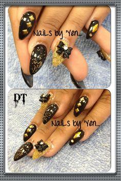 Black 3D nail art #stiletto #nails by yen #acrylic #design #bow ... Thank you Melanie!