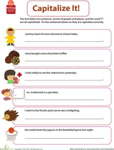 Worksheets Capitalization Worksheet 1000 images about capitalization on pinterest sentences get into grammar worksheet
