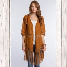 Faux suede&croche cardigan Camel faux suede cardigan with croche details. Jackets & Coats