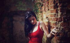 Black hair blurred background brick wall brunettes red dress ruins samantha laura kaye widescreen desktop mobile iphone android hd wallpaper and desktop. Native American Women, Brunette Woman, Diy For Girls, Hot Girls, Girl Pictures, Flirting, Black Hair, Beauty Hacks, Twitter