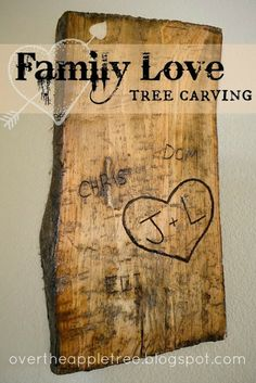 Family Love Carved Tree, make a unique wall hanging from an old tree by Over The Apple Tree
