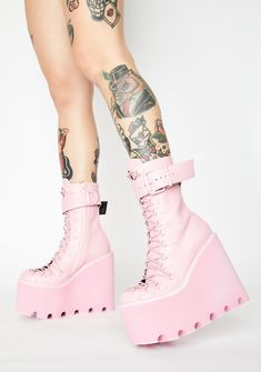 Free, fast shipping on Bubblegum Traitor Boots at Dolls Kill, an online boutique for Coachella Valley festival fashion and accessories. Shop Sugar Thrillz crop tops and festival sets. Cute Fashion, Fashion Shoes, Goth Boots, Shoe Boots, Shoes Heels, Kawaii Shoes, Aesthetic Shoes, Hype Shoes, Pretty Shoes