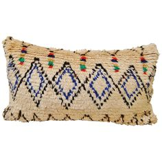Custom Pillow Cut from a Hand-Loomed Wool Moroccan Vintage Azilal Rug | From a unique collection of antique and modern pillows and throws at https://www.1stdibs.com/furniture/more-furniture-collectibles/pillows-throws/