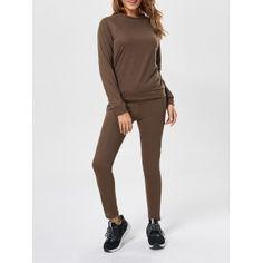 Plain Long Sleeve Sweatshirt+Drawstring Pants