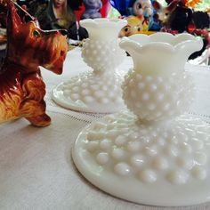 Squatty Vintage Hobnail Milk Glass Candle by DigginForTreasure - $25