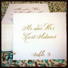 Traditional, formal escort cards for wedding reception by Long Village Lettering