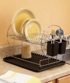 Black Modern 2 Tier Dish Drying Rack Organizer Kitchen Decor