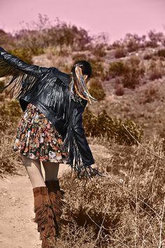 Fringe jacket, floral dress & fringe boots - #VintageWestern