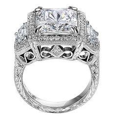 Square Diamond Vintage Engagement Ring with Half Moon Diamonds