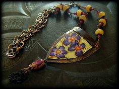 Copper Tin Hand Painted Calcite Wire Wrapped Beaded door YuccaBloom, $58.00