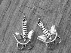 Pelvis Bone Earrings Human Pelvic Bone Anatomical Anatomy Silver Bone Jewelry Gothic Goth Zombie Skeleton Skeletal Spine Backbone Oddities