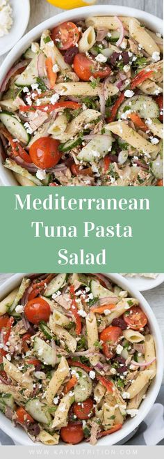 This no-mayo Mediterranean tuna pasta salad is a quick, easy and healthy lunch recipe that is packed full of protein, fibre and vegetables! This cold tuna pasta salad recipe is healthy, easy and delicious. Tuna Salad Pasta, Healthy Pasta Salad, Healthy Pasta Recipes, Healthy Salads, Healthy Eats, Winter Salad Recipes, Fresh Salad Recipes, Mediterranean Salad Recipe, Mediterranean Diet