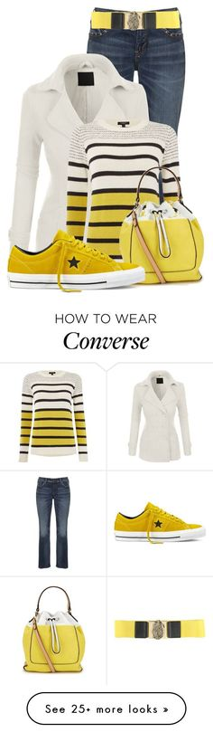 """""""Untitled #13295"""" by nanette-253 on Polyvore featuring Silver Jeans Co., LE3NO, Therapy, Isaac Mizrahi, Converse and Dondup"""