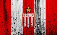 Download wallpapers 4k, FC Estudiantes, grunge, Superliga, soccer, Argentina, logo, Estudiantes, football club, stone texture, Estudiantes FC