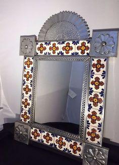 ":D❤️❤️❤️Vintage Mexican Talavera Tiles Wall Mirror with Silver Metal Frame - 19""H #MexicanTalavera"