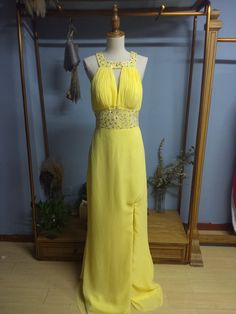 Square Neck Floor Length Brush Train Yellow Chiffon Prom Dress Formal Occasion Dress