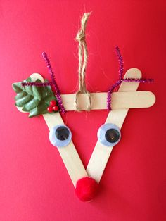 #Popsicle stick Reindeer   #Christmas craft
