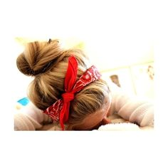 Hairstyle With Bandana ❤ liked on Polyvore