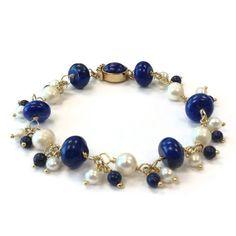 Blue Bracelet Sterling Silver Jewelry Lapis by jewelrybycarmal, $125.00