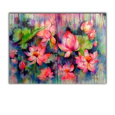 Abstract Lotus Flowers Bloom in the Rain - READY TO HANG Large multi-panelled floral painting Painting Lotus Flower Art, Lotus Art, Butterfly Art, Multi Canvas Painting, Canvas Art, The Magic Faraway Tree, Lotus Painting, Acrilic Paintings, Colorful Paintings