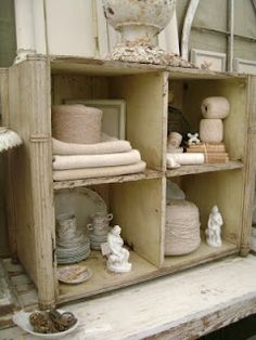 Recycled Wooden Crate is beautifully utilized as storage for treasures. Antique Booth Displays, Bookcase Shelves, Bookcases, Shabby Chic Cottage, Cottage Style, Love Your Home, Chic Bathrooms, Wooden Case, Cubbies