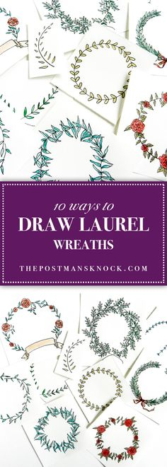 Add these illustrated laurel wreaths to mail art, a banner, gift tags ... whatever! Post includes detailed tutorials.