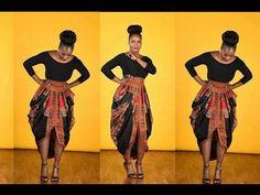 One Yard Dashiki skirt● Cowl Skirt - YouTube