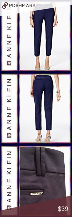 "🆕ANNE KLEIN SKINNY STRETCH PANTS These stylish trousers from Anne Klein offer a sophisticated and high-end look. The pants have a slim cut that is perfect for today's stylish, professional woman or the girl on the go!  🔹Color: Midnight Blue 🔹52% Cotton, 45% Nylon, 3% Spandex 🔹Zipper fly with double golden Logo snap closure 🔹2 Front slash pockets 🔹2 Welt pockets at back (1 with AK nameplate) 🔹5 Split belt loops 🔹Slim leg 🔹Stretch cotton sateen 🔹Unlined 🔹30 1/2"" Inseam 🔹21"" Waist…"