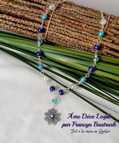 Collier fillette Reine des neiges inspiration, perles turquoise et marine cristaux clair et turquoise fleur argent, cadeau noël anniversaire
