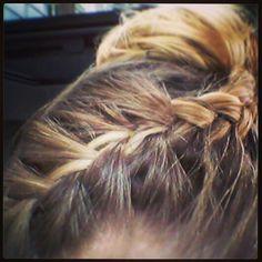 I tried: braided updo with ballerina bun! Check [x]