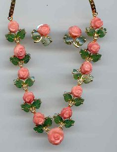 Pink Coral jewelery jade leaf rose coral red coral
