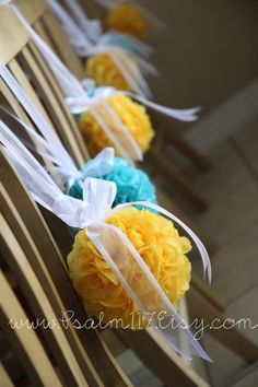 We call them kissing balls, imagine the yellow being scented with lemon grass and the turquoise with blueberry!  6 inch wide - turquoise teal aqua & yellow canary (or wedding pomanders if you prefer) -  kissing balls hanging as wedding decor with scent and give as a gift after the party! www.psalm117.etsy.com destination wedding travel planner PJ