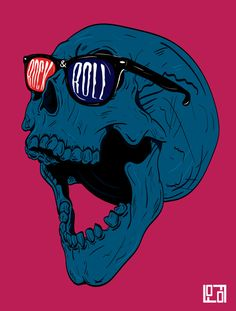 Rock Skull by Alvaro Calvo, via Behance Art And Illustration, Illustrations Posters, Pop Art, Arte Pop, Art Graphique, Skull And Bones, Art Design, Skull Art, Caricatures