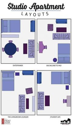 Space Guide INFOGRAPHIC: Maximize space in your studio apartment with our layout guide! - Arrange your furniture with this Studio Apartment Layout Guide! Learn how to define areas and ideas for small spaces! Studios can be stylish and functional! Studio Apartment Living, Studio Apartment Layout, Studio Layout, Design Apartment, Studio Apartment Decorating, Studio Living, Apartment Door, Apartment Interior, Apartment Ideas