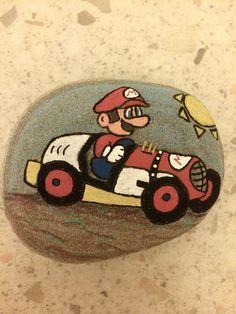Mario Kart handpainted rock
