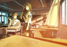Anime School Girl, Anime Art Girl, Anime Love Couple, Cute Anime Couples, Teaching In Japan, Anime Classroom, Anime Crafts, Anime Places, Anime City