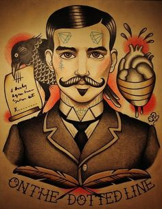 """Cool tattoo flash. #tattoo #tattoos #Ink- I WANT THIS WITH ANDREW RYAN FROM BIOSHOCK. I want it to say """"would you kindly?"""". by Vincent Gravallon"""