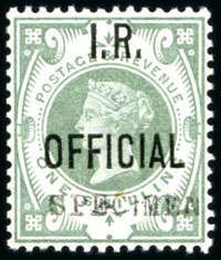 Great Britain IR OFFICIALS: 1882-1901 1d lilac, 6d grey, 1/2d vermilion, 2 1/2d purple on blue and 1s dull green all with SPECIMEN overprint (type 9), all mint with hinge traces only, very fine (SG approx £965)  Lot condition ** *  Dealer David Feldman S. A. Geneva  Auction Starting Price: 300.00 EUR