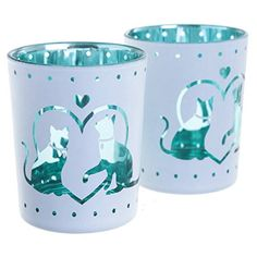 Glass Candleholder Set of 2 - Cat Design Add style and fun to your home with our range of candle holders. Our sets of 2 holders are made from gl Glass Votive, Votive Candle Holders, Candleholders, Night Lamps, Gifts For Mum, Cat Design, Burning Candle, Tea Light Holder, Decoration