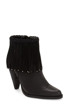 Love these black fringe booties